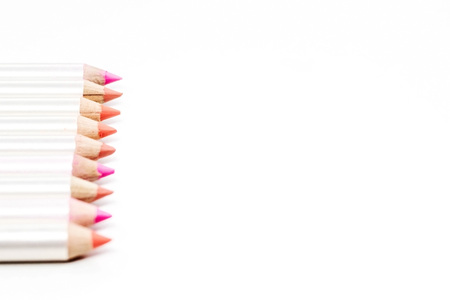 Different colors of lip liner on white background Imagens