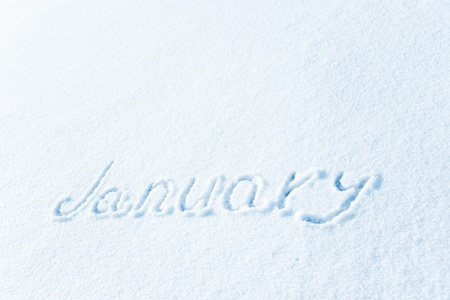 The inscription on the snow, the months of winter. January, the winter month.