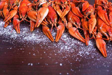 Crayfish. A great snack to beer. Red boiled crawfishes on table closeup.