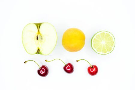 Different fruits on white background Stok Fotoğraf