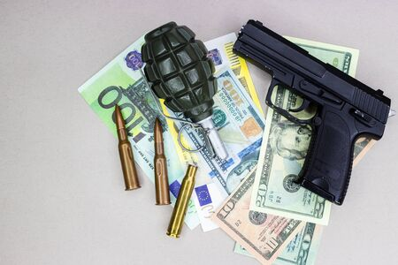 Arms trade, background or texture, arms and money