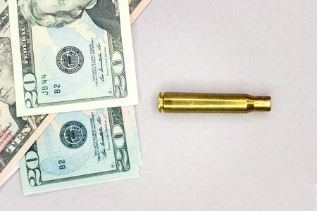 Ammunition shells and money, fonil texture for arms trade
