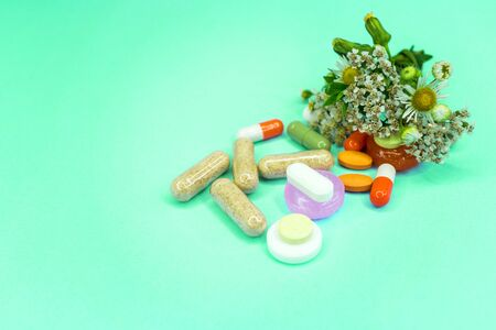 Green pharmacy, background and texture on the topic of natural medicines Stok Fotoğraf