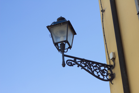 Electric streetlight town with blue sky
