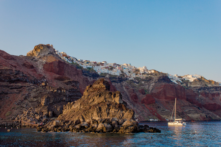 The town of Oia and the coast from the sea