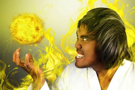 karateka: karateka with a fireball Stock Photo