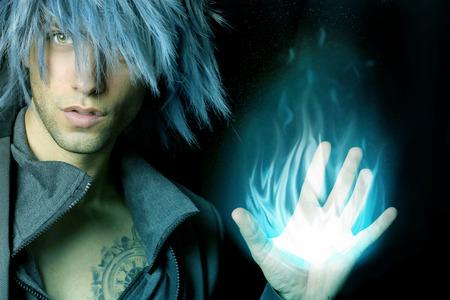 handsome sorcerer that creates a fireball Banco de Imagens - 36212997
