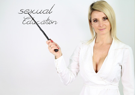 sexy teacher teaching sex education Stock Photo