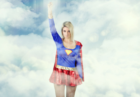 super woman: super woman flying Stock Photo