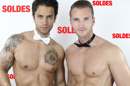 escort: two sexy guys on promotion Stock Photo