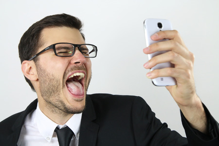 Young businessman making a selfie Stock Photo