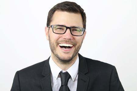 laughs: businessman laughs