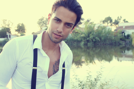suspenders: young man wearing suspenders