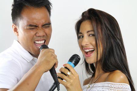 duet: karaoke duet Stock Photo