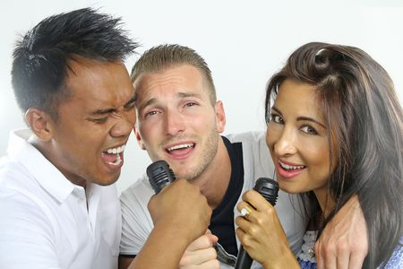 Group of firends singing