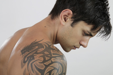 shirtless men: Sexy Man with tattoo Stock Photo