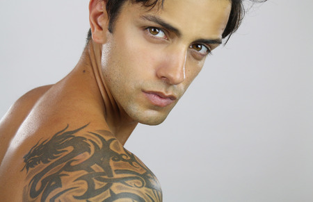 handsome tattooed man