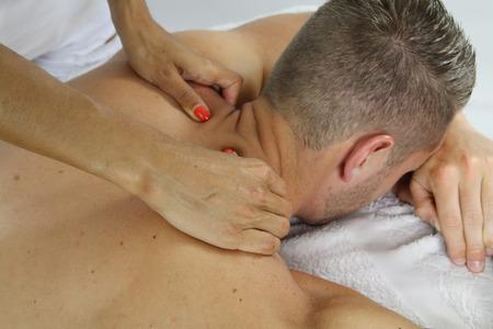 massaggio collo: neck massage Archivio Fotografico