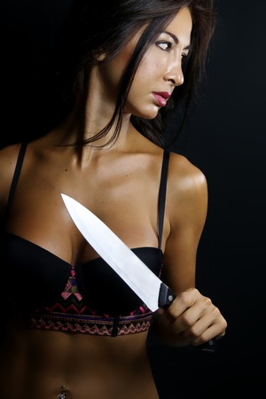 sexy woman with a knife
