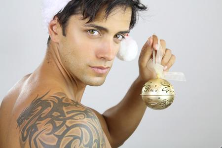 sexy man: cute christmas Stock Photo