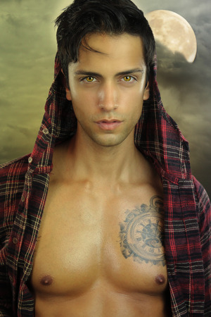 man in the moon: Young werewolf - handsome male brown Stock Photo