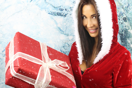 beautiful santa girl Stock Photo