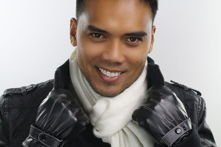 pinoy: winter style - handsome asian guy Stock Photo