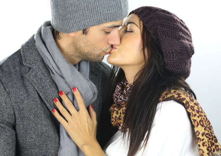 passionate kissing: a winter lovers Stock Photo
