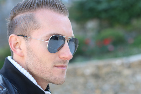 aviator: handsome man wearing aviator glasses