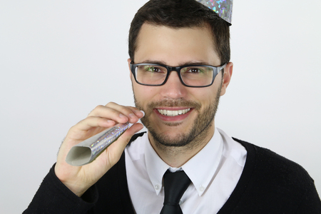 celebrate year: young businessman celebrate the new year