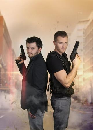 cops: The super cops - Two policemen posing sexy Stock Photo