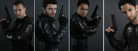 cops: Super cops - portrait of four men of the Special Forces Stock Photo
