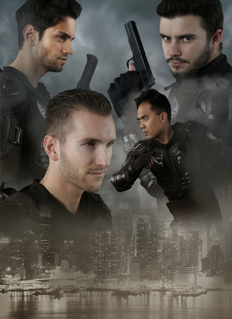 special forces: Super cops - four men of the Special Forces Stock Photo