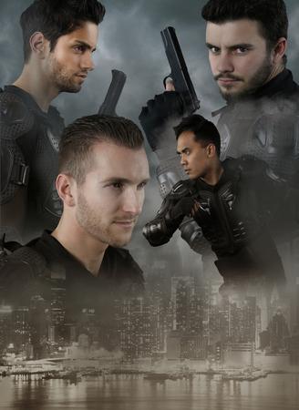 cops: Super cops - four men of the Special Forces Stock Photo