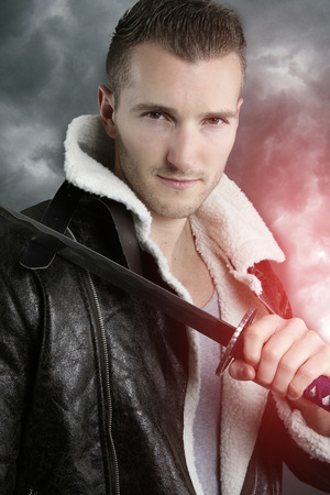 fictional character: fictional character - handsome warrior Stock Photo