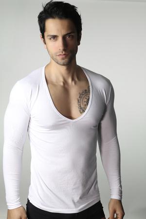 adult  male: Handsome guy wearing underwear