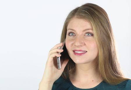 llamando: Llamada de la mujer joven Foto de archivo