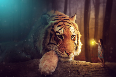 fantasy world: A fantasy world - a woman and a giant tiger