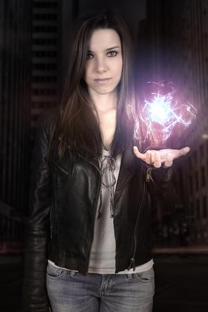 fireball: young woman making a fireball