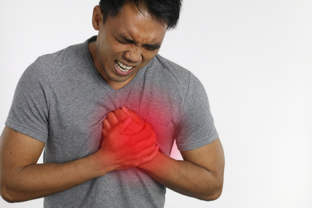 heartattack: Heart attack - Man with chest pain over a white background