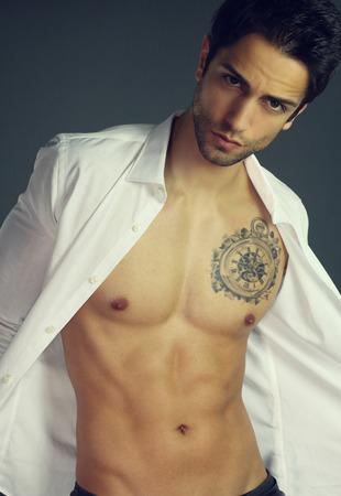 open shirt: Sensual man with open shirt