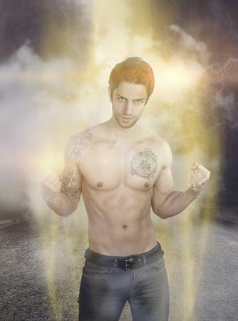 Powerful super hero Stockfoto