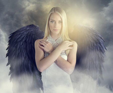 black wings: beautiful angel with black wings Stock Photo