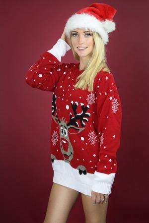tacky: Beautiful girl wearing a tacky Christmas sweater