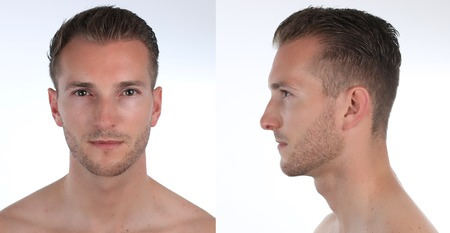 Portrait of a handsome man, profile and face. Creation of a virtual 3D character or an avatar.