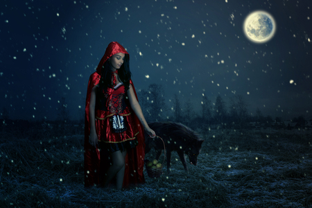 fairy tale concept with a beautiful girl . little Red Riding Hood in the forest Stok Fotoğraf