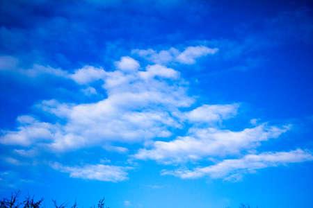 Spring March sky with white fluffy clouds Ukraine Foto de archivo
