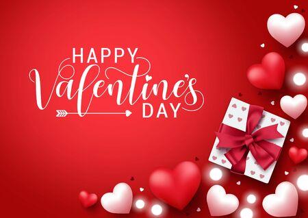 Valentinstag-Vektor-Banner-Hintergrund. Happy Valentinstag Gruß Typografie mit Elementen wie Geschenk, Herzen und Lichter Dekoration in rotem Hintergrund. Vektor-Illustration. Vektorgrafik