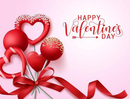 Valentinsgrußbonbons mit Bandvektorfahnenschablone. Fröhlicher Valentinstagstext mit Valentinstagselementen im Herzen und runder Bonbonform mit Lasso in rosafarbenem Hintergrund. Vektor-Illustration.