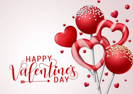 Valentine candies vector background template. Happy valentines greeting text with valentines candy and lollipop elements in heart and round shape with toppings in gray background. Vector illustration. Vektorové ilustrace